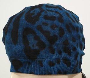 DOLCE & GABBANA Junior Kids Black Blue Animal Wool Fine Knit Beanie Hat BNWT