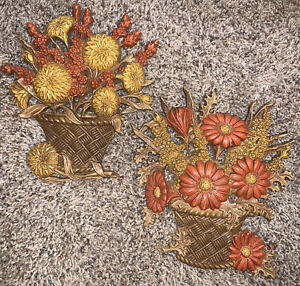 VTG 1977 SET FLOWER BASKET HOME INTERIORS WALL PLAQUES BY BURWOOD PRODUCTS