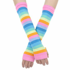 Women Rainbow Cotton Stripes Thigh High Over The Knee Stockings Socks/Gloves US