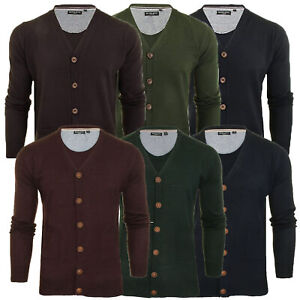 Mens Cardigan Brave Soul Knitted Jumper Button V Neck Long Sleeve GHAZALI Winter