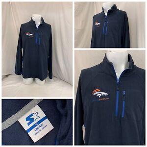 Denver Broncos 1/4 Zip Fleece Pullover XL Blue Starter 100% Poly NWT YGI W0-368