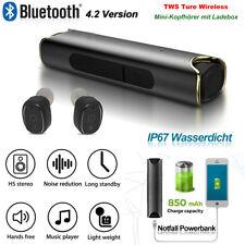 Bluetooth Headset Mini Ohrhörer Stereo Kopfhörer TWS Earbuds+Akku Tragbare Lade