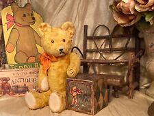 14� Antique 1940s Hungarian Golden Teddy Bear, Original, Hard Stuffed, Excelsior