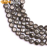 """Natural Flat Coin Pyrite Stone Beads For Jewelry Making Strand 15"""" Wholesale DIY"""