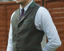 Mens MILANO Tweed Collared Waistcoat Check Notched Lapel S to XXL Vintage Brown 3xl