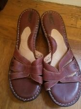 BORN RUST BROWN TONE LEATHER SLIP ON SLIDE WEDGE HEEL SANDALS WOMENS SZ 10 M