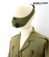 Army Style Double Valve Face Mask Carbon Filter Olive Neoprene Vent Covering OD