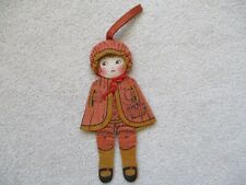 "Antique Flat Felt ""Peggy Doll"" - Little Red Riding Hood - Cloth Doll Purse 1928"