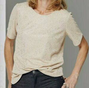 Womens Anthology Gold Top Size 14 Sparkly Curved Hem Short Sleeve