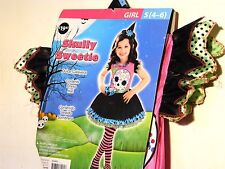 Girl Child Small 4-6 Skully Sweetie Halloween Costume Dress Up