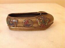 Vintage Chinese  Enamel  Brass Shoe Ashtray