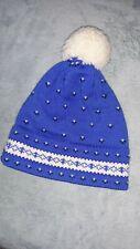 Vintage BLUE white WOOL HANDMADE STOWE woolens VT POMPOM KNIT SKI HAT vtg