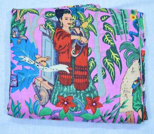 Indien Coton Couture Artisanale Écran Imprimé Course Desseré de 2.7m Tissu