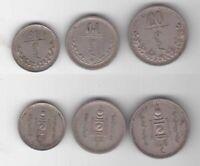 MONGOLIA - VERY RARE 3 DIF COINS SET 10 15 20 MONGO 1937 YEAR KM#12 13 14