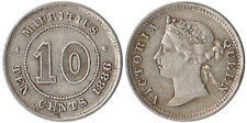 1886 Mauritius (British) 10 Cents Silver Coin Victoria KM#10.1
