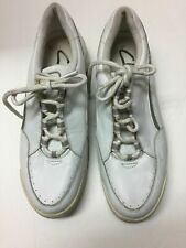 New listing Clarks Ladies Tennis Shoes Lace Up Size 9 M White  A122ss