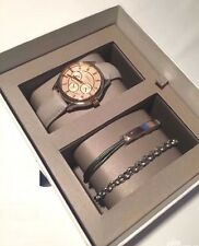 FOSSIL 3 PC SET ROSE GOLD TONE,MULTI FUNCTION,CRYTAL,GRAY BAND,WATCH-BQ3128SET