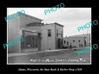 OLD LARGE HISTORIC PHOTO OF ADAMS WISCONSIN, THE BANK & BARBER SHOP c1920