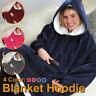Hoodie Blanket Oversized Ultra Plush Comfy Sherpa Revisible Sweatshirt Blanket