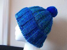 Hand knitted cozy & warm beanie/hat with pom pom, blue tones