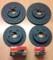 Focus ST225 Front Rear MTEC Black Edition Brake Disc Pads Kit Drilled Grooved