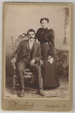 Antique CDV Photo Handsome Man And Beautiful Women Fashion Clothes. Blanchard.
