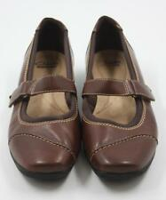 Clarks Women Ladies Brown Leather Mary Jane Flats Shoes Size 9M