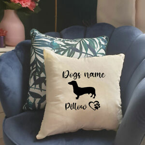 Personalised Dog Breed Pet Name Cushion Pillow Cover. Choose breed and colour