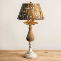 ELLA new Rustic Wood Table Lamp with Tin Shade in distressed Finish