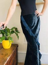 New Laura Ashley Maxi Fitted Skirt Dark Green Luxury Velvet Silk Uk 12