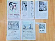 Eastman Kodak Rochester NY Camera Art Print Ads - 6 lot - 1905 thru 1920