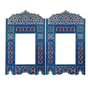 Set of 2 Moroccan Blue hanging mirror frame, decor of wood, hand-painted