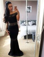 Womens Ex Quiz Black Bardot Ball Gown Mesh Fishtail Maxi Evening Prom Long Dress