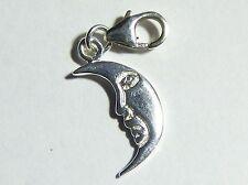 Crescent Moon Clip on Bracelet Charm - Sterling Silver 925 - Supernatural