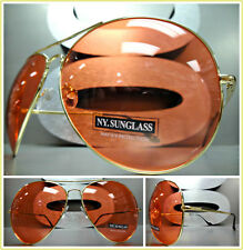 OVERSIZED EXAGGERATED VINTAGE RETRO Style SUN GLASSES Huge Gold Frame Red Lens