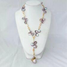 18'' Natural Purple Keshi Pearl Chain Necklace Keshi Pearl Pendant