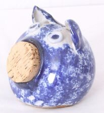 Spongeware Stoneware RARE Figurine Cork Stopper Pottery Coin Piggy Bank jar