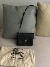 100% Authentic Burberry crossbody bag black leather gold chain strop.