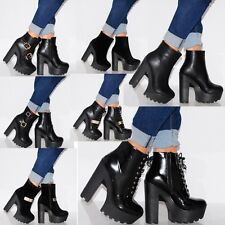 WOMENS BLACK ELASTICATED CHUNKY CLEATED PLATFORMS ANKLE BOOTS HIGH HEELS SHOES