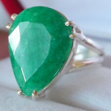LOVELY! 9.30 ct NATURAL GREEN EMERALD RING  925 STERLING SILVER. SIZE 6.0