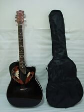 Professional 6 string Acoustic Electric Guitar, Black, Free Gig Bag, New