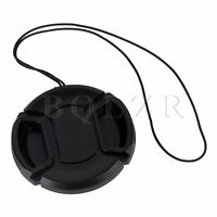 5pcs Front Camera Lens Cap Cover Snap-on With Cord For All 52mm Lenses Black