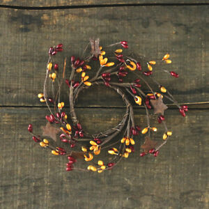 Pip Berry Candle Rings Set/2 Burgundy Old Gold Rusty Stars 2 inch Votive Sized