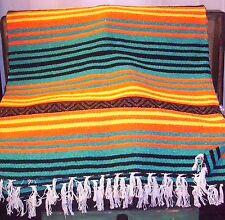 Peyote Blanket Vibrant Yellow, Orange, Green Large 56 X 74 Fringed Ends Acrylic