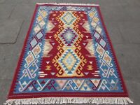 Old Traditional Hand Made Oriental Indian Kilim Cream Red Wool Kilim 189x141cm
