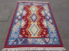 VECCHIO fatto a mano tradizionale Indiano Orientale Kilim PANNA LANA ROSSA Kilim 189x141cm
