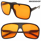Black Orange Lens Square Large Flat Top Retro Aviator Sunglasses 80s VTG