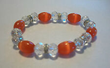 Pretty Red & White Cat's Eye and Crystal Glass Bead Stretch Bracelet