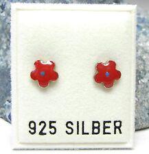 NEU 925 Silber OHRSTECKER BLÜTEN rot-blau OHRRINGE Earrings BLÜTE massiv BLUMEN