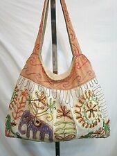 Large Boho India Embroidered Cotton Multicolor Hobo Shoulder Handbag